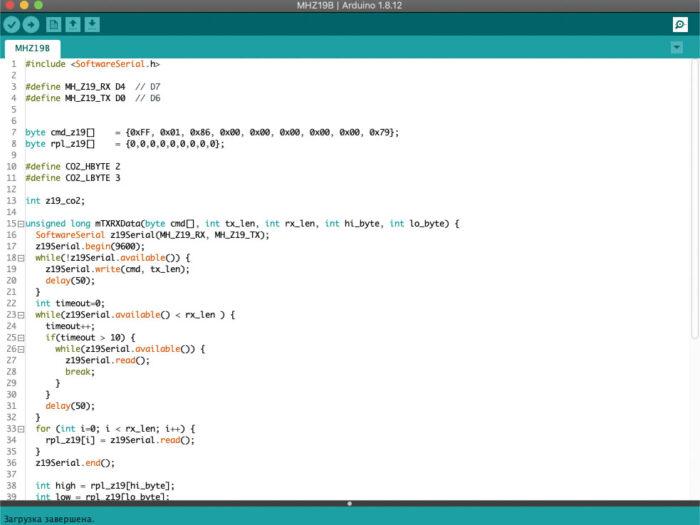 mh-z19b arduino code